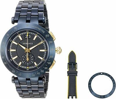 Versace Men's VAH050016 V-RACE Swiss Made Two Straps Two Bezels Steel Date Watch