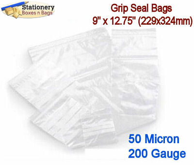 100 Poly Grip Seal Zip Lock Bags 9