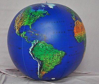 "36"" Inflatable Dark Blue Topographical Earth Globe  - Earthball - Beach Ball"