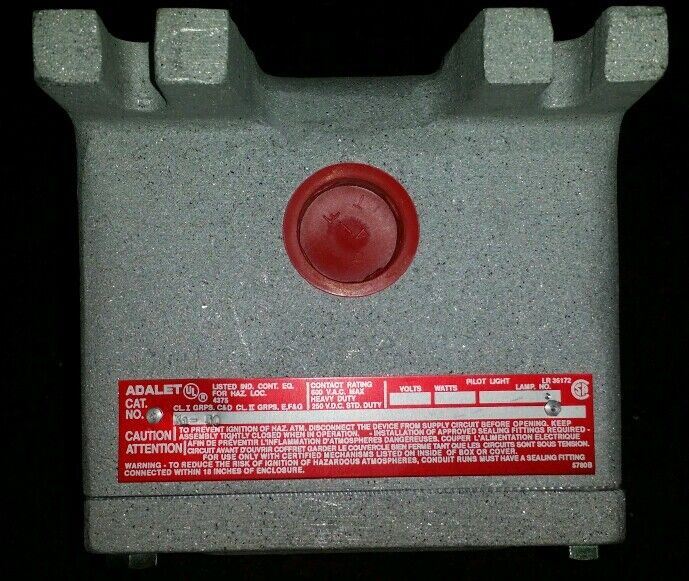 ADALET X1-30 1-HOLE PUSHBUTTON ENCLOSURE - NEW
