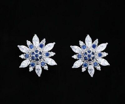 Snowflake Frozen 12mm Sterling Silver Cubic Zirconia Stud Earrings Gift Box K64