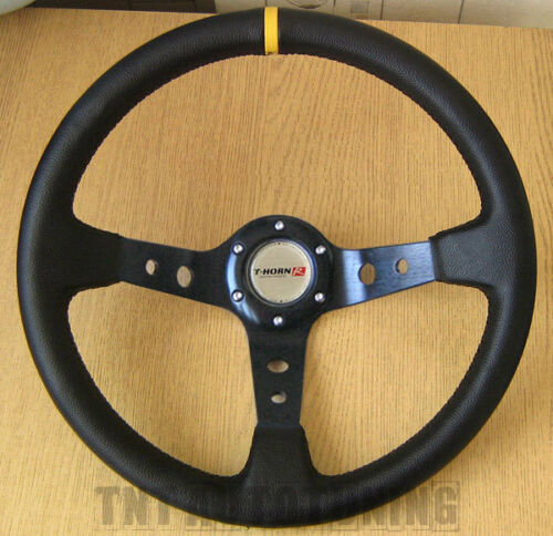 Deep Dish Sports Steering Wheel in Black PVC Leather 350mm Drifting Rally Racing