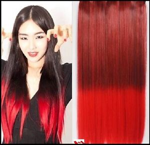 """Clip in hair extension, Straight hair, 60 cm, 24"""", 100g,  RED St. John's Newfoundland image 4"""