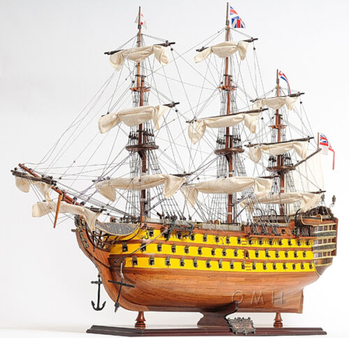 """HMS Victory Admiral Nelson Tall Ship 37""""  Painted Wood Model Sailboat Assembled"""