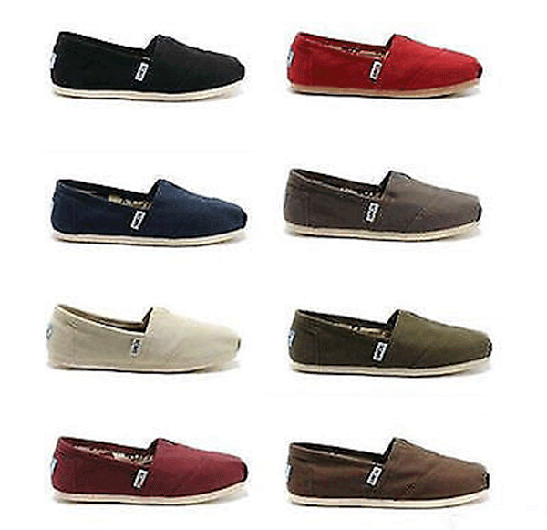 New Authentic Womens Toms Classic Slip On Flats Canvas Shoes