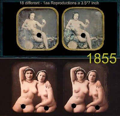 18 Akt - Stereofotos, schöne nackte Mädchen, Motive coloriert um 1855, nude