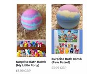 Childrens bath bombs with hidden suprise