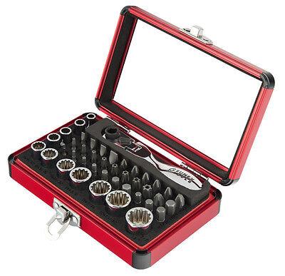 """Sunex 44pc 1/4"""" dr Mini Bit & Spline socket set w/ Duo-drive Ratchet & Case 9732"""