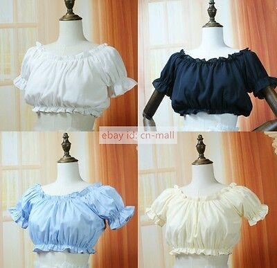 - 1pc Girls Puff Sleeve Blouse Shirt Chiffon Bottoming Top Lolita Shirts One size