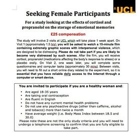Female participants needed for paid study on emotional memories