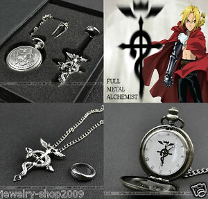 Cosplay Fullmetal Alchemist Pocket Watch + Necklace + Ring Set With Box