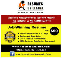 "█►█►█► Highly Reputable Resume Company: ""Resumes By Elaina"""