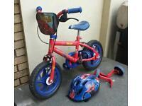 Kids spiderman bike and helmet
