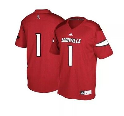 ADIDAS MEN'S XL JERSEY LOUISVILLE CARDINALS FOOTBALL RED #1 REPLICA was $65