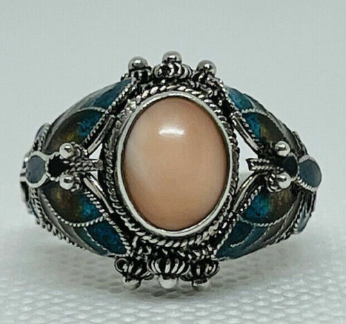 Vintage Chinese Pink Coral Sterling Silver Enamel Butterfly BO Ring Size 7