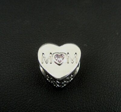 Pandora Charm Mother Heart Pink CZ MoM Authentic Solid Silver Sterling 925 Mom Pink Heart