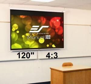 NEW ELITE MANUAL PROJECTOR SCREEN M120VSR-Pro 184785619 120-inch 4:3, Slow Retract Pull Down Projection
