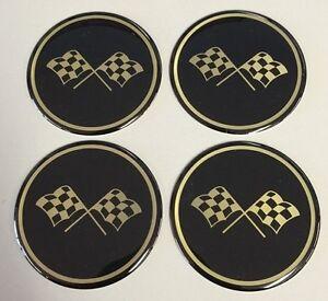 Corvette Style Black Crossed Flag Wheel Center Cap Sticker