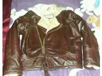ladies size small real leather brown biker style jacket
