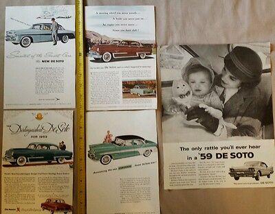 LOT OF 5 DE SOTO CAR PRINT ADS MAGAZINE DEALER ADVERTISING VINTAGE