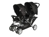 Double buggy for sale - Graco Stadium Duo with rain cover