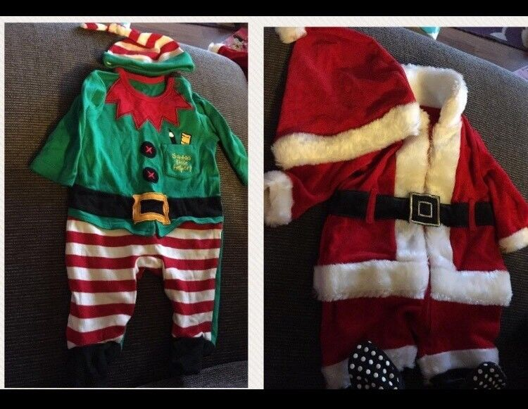 Newborn Christmas outfits santa and elf suits
