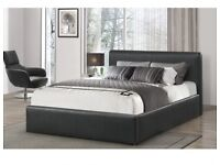 """** BLACK FRIDAY SALE - FREE DELIVERY** DOUBLE LEATHER BED + FREE 9"""" SPRUNG MATTRESS NOW ONLY £129.99"""