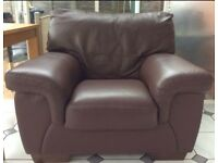 3 Seater leather Sofa with matching arm chair