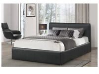 2/ DOUBLE LEATHER BED AND MATTRESS & STORAGE FAST FREE DELIVERY 743UEUAABDU