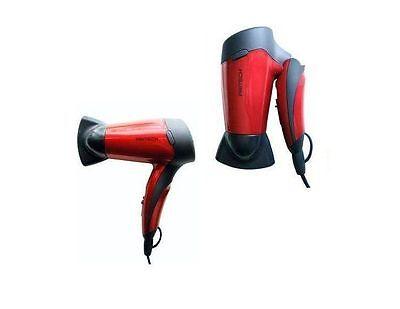 Mini Secador de Pelo Plegable Pritech 1200W para viaje casa potente Rojo...