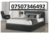 **FREE AND FAST DELIVERY** DOUBLE LEATHER BED AND MATTRESS & STORAGE BRAND NEW £129.99
