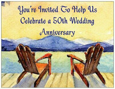 Adirondack Chair Wedding Invitations (50th Wedding Anniversary Invitations - Adirondack Chairs - 50/pack Fill-In )