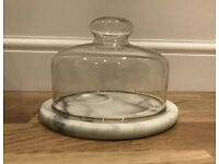 Marble Cheese Platter with Glass Dome Display Serving Plate Kitchen