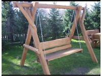 Wooden garden swing bench solid construction SALE