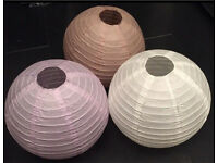 BAMBOO PAPER LANTERNS 45 In Total BNWT 3 Different Colours White Lilac Chocolate