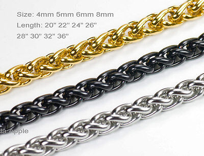 Mens Boys Womens Black Gold Silver 316L Stainless Steel Wheat Chain Necklace