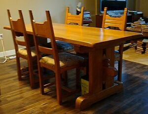 ESTATE SALE: LAST CHANCE - Solid Oak - Trestle Table & 4 Chairs