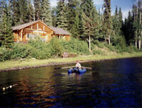 Waterfront log home with 4 cabins