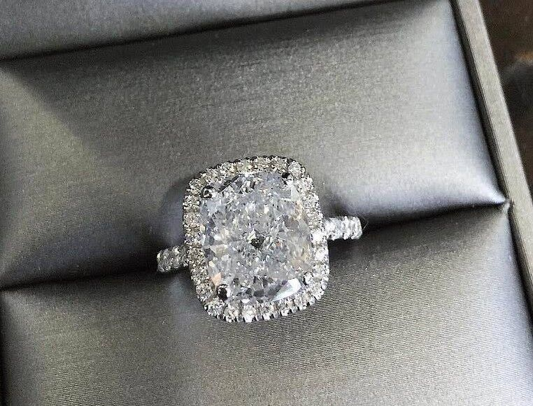 1.70 Ct Halo Cushion Cut Diamond Engagement Ring F,VS1 GIA  Prong & U-Setting 3