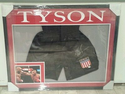 MIKE TYSON AUTOGRAPHED BOXING TRUNKS CUSTOM FRAMED JSA WITNESSED!!! Autographed Custom Boxing Trunks