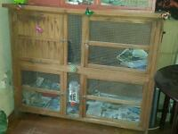 Large double layer sturdy outdoor wooden rabbit/guinea pig/small animal hutch cage run