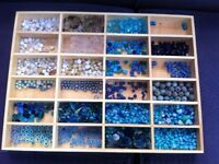 8 Wooden Jewellery Storage Display Bead Trays, Size 48x36x4cm hole size 11x5cm & selection of beads