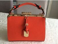 Dune Handbag Stunning Orange with Gold Clasp, Buckle and Tag Used Twice