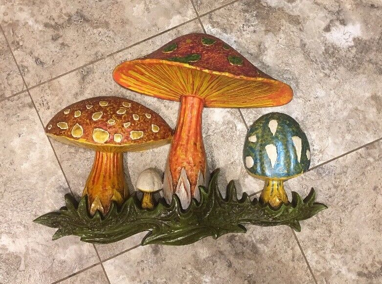 Vintage Large 1970 Dart Hand Painted Colorful Mushroom Wall Plaque Phychedelic
