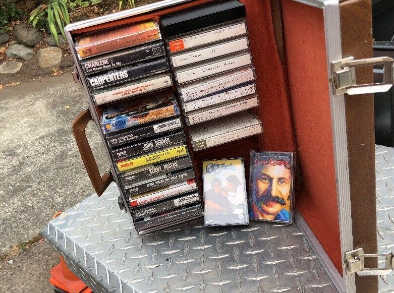 Vintage cassette case 30 Slot With Tapes And Mixed Tapes John Denver Jim Croce