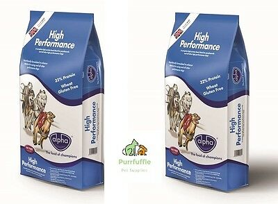 2x 15KG BAGS ALPHA HIGH PERFORMANCE RACING WORKING DRY COMPLETE DOG FOOD 30KG
