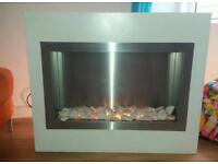 White and chrome electric fire