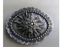 Antique Turkish Silver Belt Buckle, Niello Work - Ottoman Period - approx 1850-1880