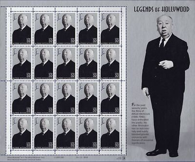 RJAMES: US 3226 ALFRED HITCHCOCK LEGENDS OF HOLLYWOOD SOUVENIR SHEET , MNH