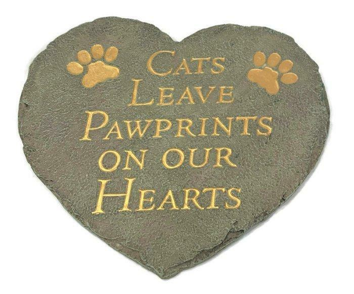 Spoontique Cats Heart Plaque Sign - Cats Leave Pawprints On Our Hearts